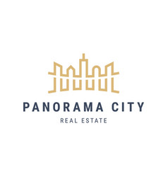 panorama city landscape logo with skyscrapers vector image