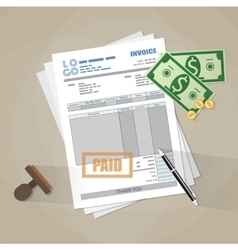 paper invoice form paid stamp pen cash money vector image