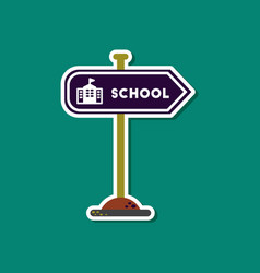 paper sticker on stylish background school sign vector image
