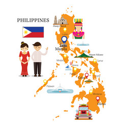Philippines map and landmarks with people in vector