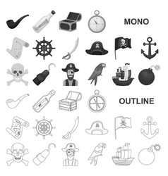 Pirate sea robber monochrom icons in set vector