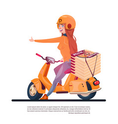 Pizza delivery service young girl riding electric vector