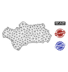 Polygonal network mesh map of andalusia vector