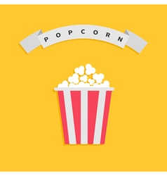 Popcorn box Big round wave white ribbon line with vector image