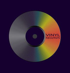 Poster of vinyl player record with rainbow colors vector