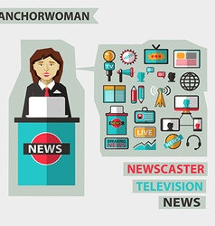 Profession of people Flat infographic Anchorwoman vector image