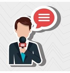 reporter avatar with speech bubble isolated icon vector image