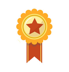 ribbon award of golden star for sport championship vector image