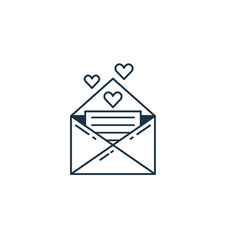 romantic note or love letter line icon vector image
