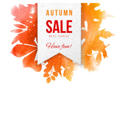 Sale emblem over background with autumn leaves vector