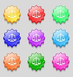 Scales balance Symbols on nine wavy colourful vector