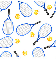 Seamless pattern with tennis rackets and balls in vector