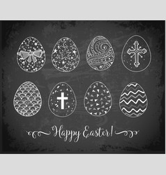 set hand-drawn ornated easter eggs on vector image
