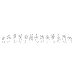 set linear woman hands isolated on white vector image