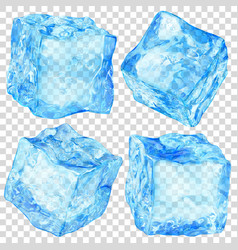 set of transparent ice cubes vector image