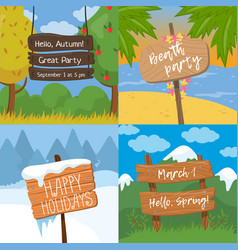 set of various wooden signs with text wood old vector image