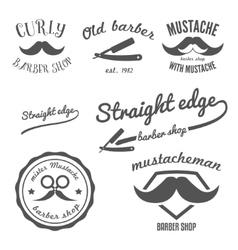 Set vintage barber shop logo stickers labels vector