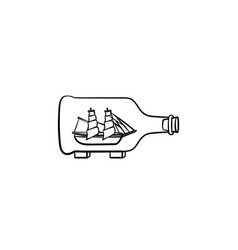 ship inside the bottle hand drawn sketch icon vector image