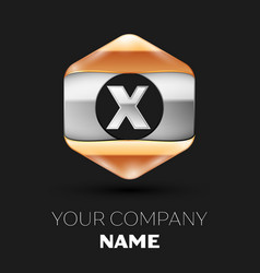 Silver letter x logo in silver-golden hexagonal vector