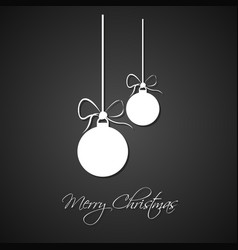 simple white christmas balls with bow vector image