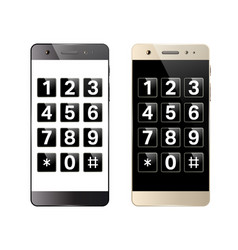 Smartphone with digital keypad vector