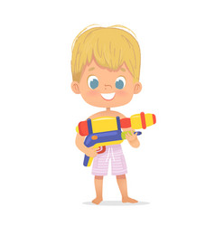 Smiling cute blond baby boy with a toy water gun vector