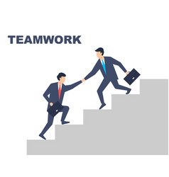 teamwork men in suits help each other at work vector image