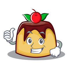Thumbs up pudding character cartoon style vector