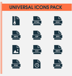 Types icons set with file doc temporary and vector