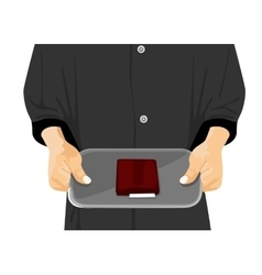 waiter holding a tray with a check on it vector image vector image