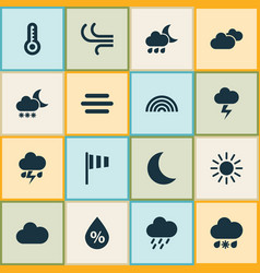 Weather icons set collection of sun breeze flag vector