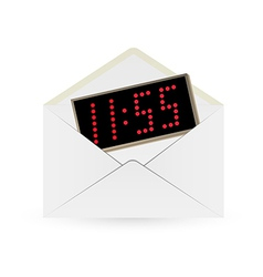 white envelope and digital watch vector image