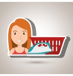 Woman cartoon laundry basket vector