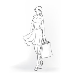 Woman with shopping bag in full length vector image