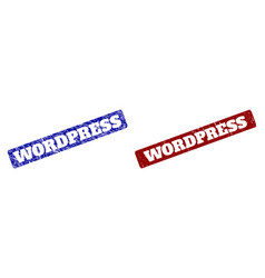 Wordpress red and blue rounded rectangle stamp vector