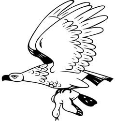 Eagle flies with prey vector image