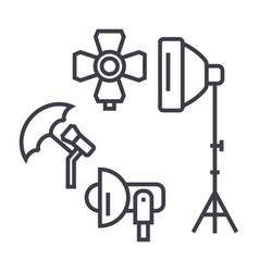 photo studio lighting equipment line icon vector image