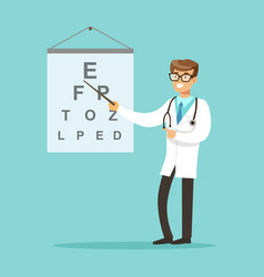 smiling oculist or ophthalmologist doctor vector image vector image