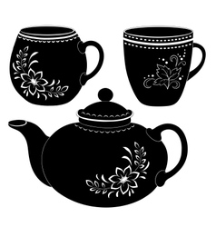 Teapot and cups silhouettes vector image vector image