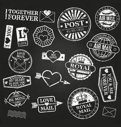 white vintage post stamps collection vector image vector image