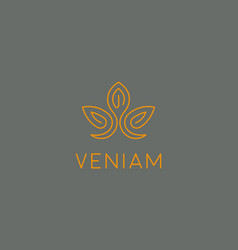 abstract flower lotus logotype elegant crown line vector image vector image