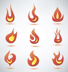 fire flame symbol set of icons vector image vector image