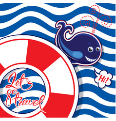 funny seasonal card with blue whale on striped vector image vector image