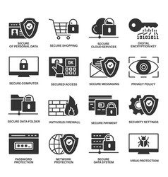 internet security information protection icons vector image vector image