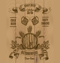 octoberfest vintage poster vector image vector image