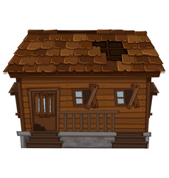 wooden house in poor condition vector image vector image