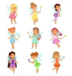 Fairies cartoon characters set vector image