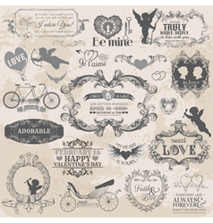 Valentines Day Vintage Set vector image vector image