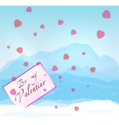 W inter mountains Valentine vector image vector image