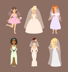 wedding brides characters vector image